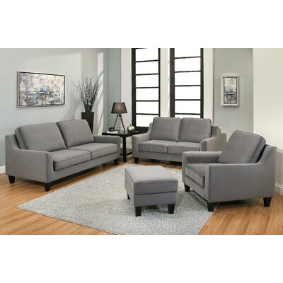Duponta Fabric 4 Piece Sofa, Loveseat, Armchair and Ottoman Set