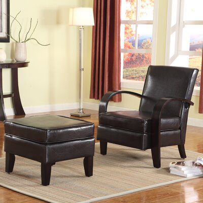 Papillion Bonded Leather Armchair and Ottoman Color: Brown