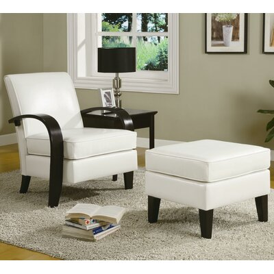 Papillion Bonded Leather Armchair and Ottoman Color: White