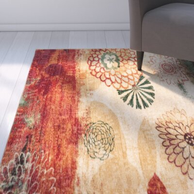 Arend Beige/Green Area Rug Rug Size: Rectangle 5 x 8