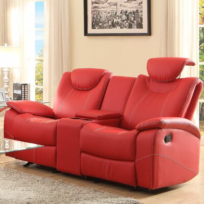 Erik Double Glider Reclining Loveseat Upholstery: Red