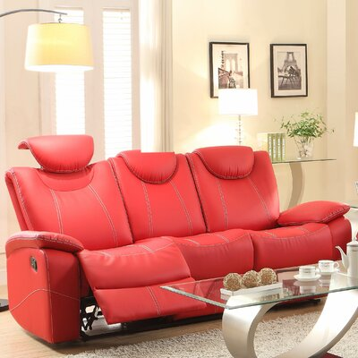 Erik Double Reclining Sofa Upholstery: Red