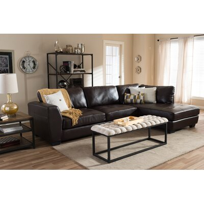 Serpens Sectional Upholstery: Brown, Orientation: Right Hand Facing