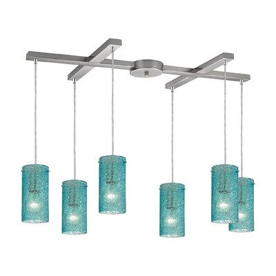 Dutchess 6-Light Kitchen Island Pendant Shade Color: Aqua