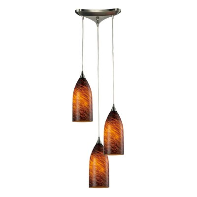 Leakey 3-Light Pendant Finish: Satin Nickel and Espresso Glass