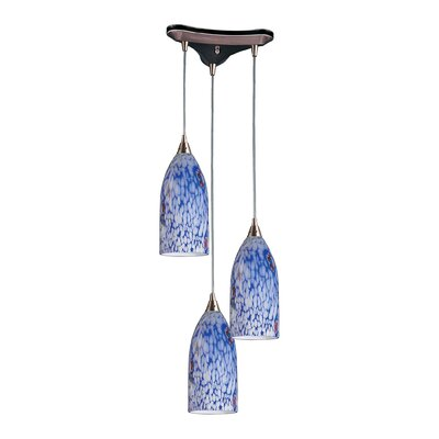 Leakey 3-Light Pendant Finish: Satin Nickel and Starlight Blue Glass