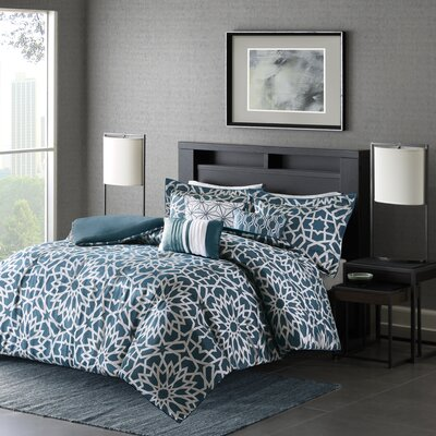 Kane 6 Piece Duvet Cover Set Size: Full/Queen, Color: Teal