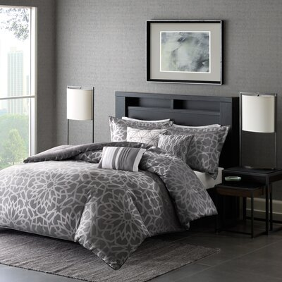 Kane 6 Piece Duvet Cover Set Size: Full/Queen, Color: Grey