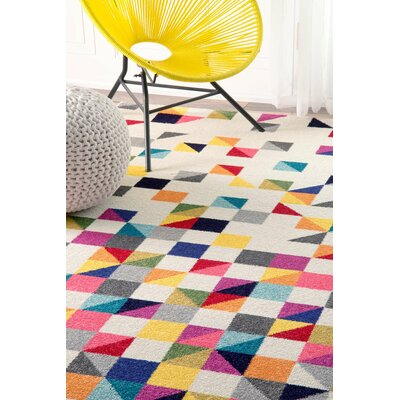 Hunter White Area Rug Rug Size: Rectangle 9 x 12