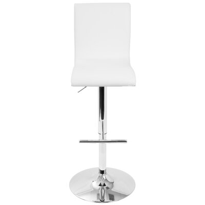 Justine Adjustable Height Swivel Bar Stool Upholstery: White