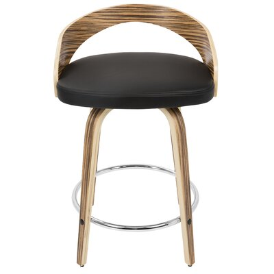 Bridgett 24.25 Swivel Bar Stool Upholstery: White, Frame Color: Cherry