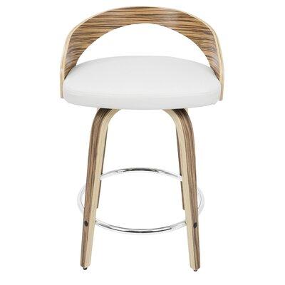 Victoria 24.25 inch Swivel Bar Stool Upholstery: White