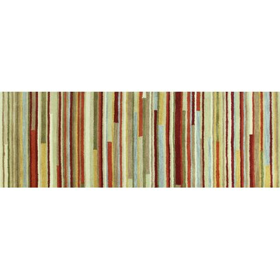 Amparo Hand-Tufted Beige/Red/Green Area Rug Rug Size: 26 x 8