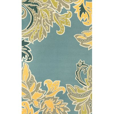Cosmo Ornamental Leaf Border Light Blue Area Rug