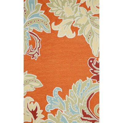 Cosmo Ornamental Leaf Border Orange Indoor/Outdoor Area Rug Rug Size: Rectangle 36 x 56