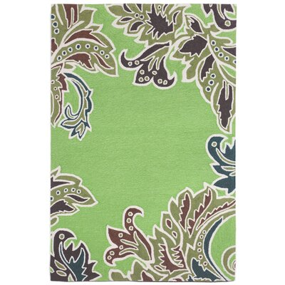 Cosmo Ornamental Leaf Border Green Indoor/Outdoor Area Rug Rug Size: 36 x 56