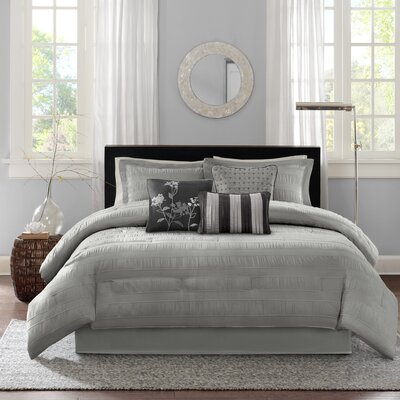 Rochelle Comforter Set Color: Gray, Size: King