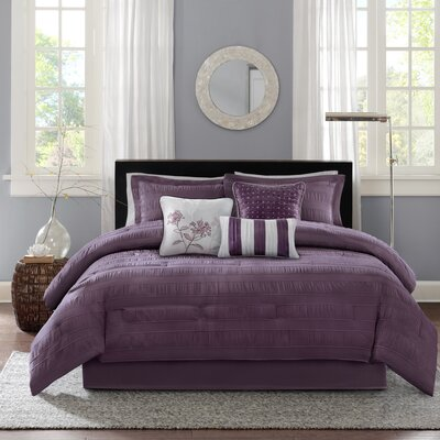 Rochelle Comforter Set Size: King, Color: Plum