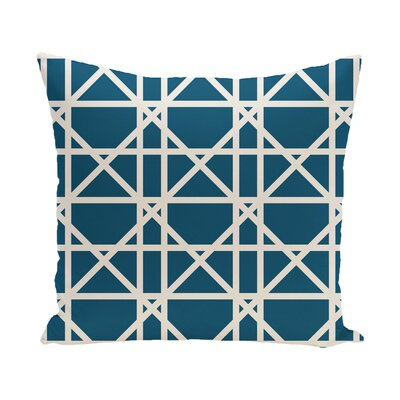 Marissa Trellis Geometric Print Outdoor Throw Pillow Color: Teal, Size: 20 H x 20 W