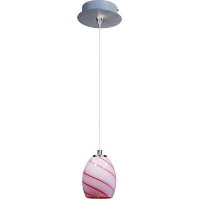 Lamptrai Swirl 1-Light RapidJack Pendant and Canopy Glass Color: Cherry Swirl