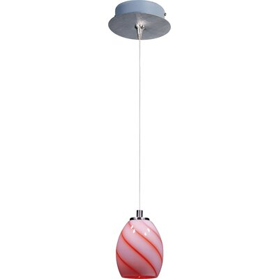 Lamptrai Swirl 1-Light RapidJack Pendant and Canopy Glass Color: Tangerine Swirl