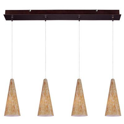 Mcwilliams Lava 4-Light RapidJack Pendant and Canopy Glass Color: Gold Lava, Finish: Bronze