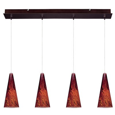 Lamptrai Lava 4-Light RapidJack Pendant and Canopy Glass Color: Amber Lava, Finish: Bronze