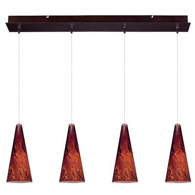 Mcwilliams Lava 4-Light RapidJack Pendant and Canopy Glass Color: Amber Lava, Finish: Bronze