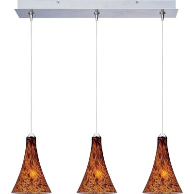 Lamptrai 3-Light RapidJack Pendant and Canopy Glass Color: Amber Leopard, Bulb Type: GY6.35 T4 Xenon, Finish: Bronze