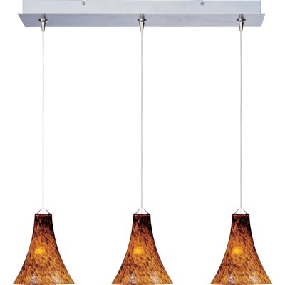 Mcwilliams 3-Light RapidJack Pendant and Canopy Glass Color: Amber Leopard, Bulb Type: GY6.35 T4 Xenon, Finish: Satin Nickel