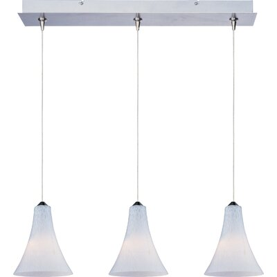 Mcwilliams 3-Light RapidJack Pendant and Canopy Glass Color: White Leopard, Bulb Type: GY6.35 T4 Xenon, Finish: Satin Nickel