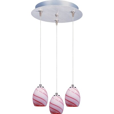 Lamptrai Swirl 3-Light RapidJack Pendant and Canopy Glass Color: Cherry Swirl