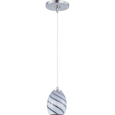 Lamptrai Swirl 1-Light RapidJack Pendant and Canopy Glass Color: Grape Swirl