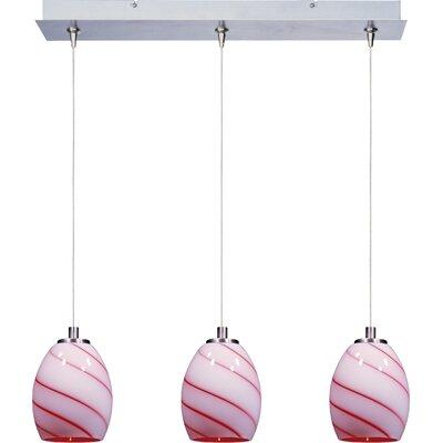 Lamptrai Swirl 3-Light RapidJack Pendant and Canopy Glass Color: Cherry Swirl