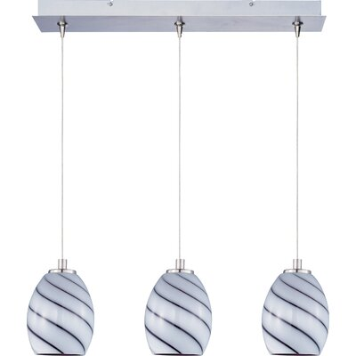 Mcwilliams Swirl 3-Light RapidJack Pendant and Canopy Glass Color: Grape Swirl
