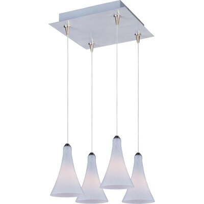 Lamptrai RapidJack 4-Light Cluster Pendant Shade Color: White Leopard, Bulb Type: G4 Xenon, Finish: Satin Nickel