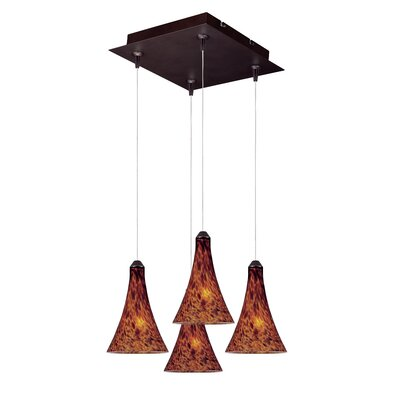 Lamptrai RapidJack 4-Light Cluster Pendant Shade Color: Amber Leopard, Bulb Type: G4 Xenon, Finish: Bronze