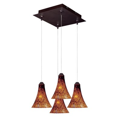 Lamptrai 4-Light RapidJack Pendant and Canopy Glass Color: Amber Leopard, Bulb Type: GY6.35 T4 Xenon, Finish: Bronze