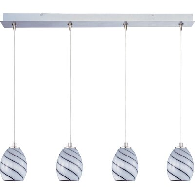 Mcwilliams Swirl 4-Light RapidJack Pendant and Canopy Glass Color: Grape Swirl
