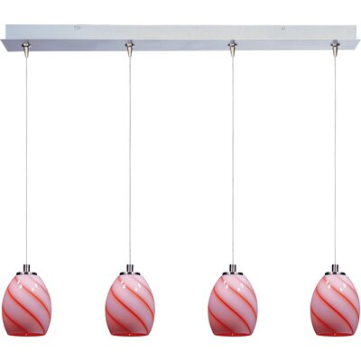 Mcwilliams Swirl 4-Light RapidJack Pendant and Canopy Glass Color: Tangerine Swirl