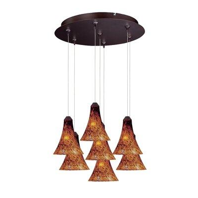 Sekhmet 7-Light RapidJack Pendant and Canopy Shade Color: Amber, Finish: Bronze