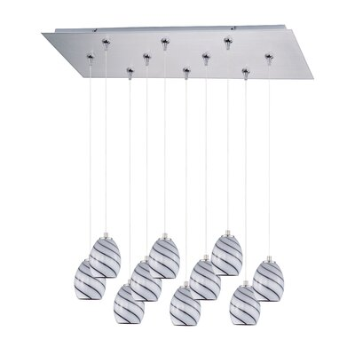 Mcgann 10-Light RapidJack Pendant and Canopy Shade Color: Grape