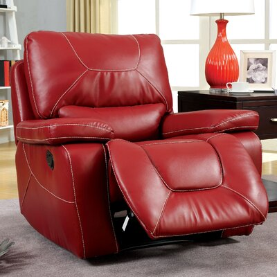 Lockheart Leather Manual Glider Recliner Upholstery: Red