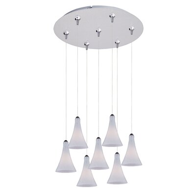 Sekhmet 7-Light RapidJack Pendant and Canopy Shade Color: White, Finish: Satin Nickel