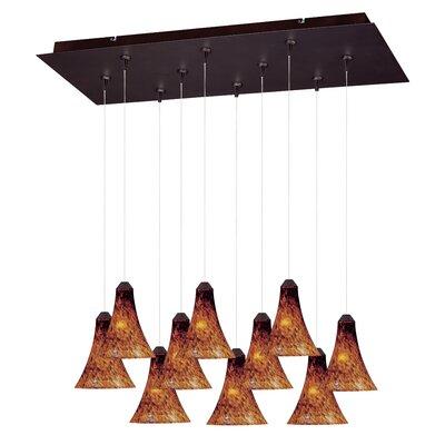 Sekhmet 10-Light RapidJack Pendant and Canopy Shade Color: Amber, Finish: Bronze