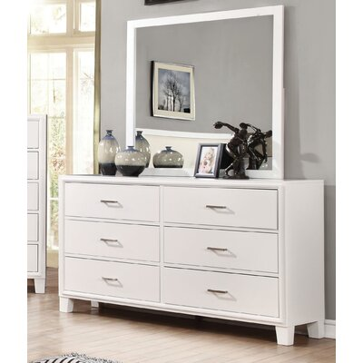 Leporis 6 Drawer Dresser with Mirror Finish: White