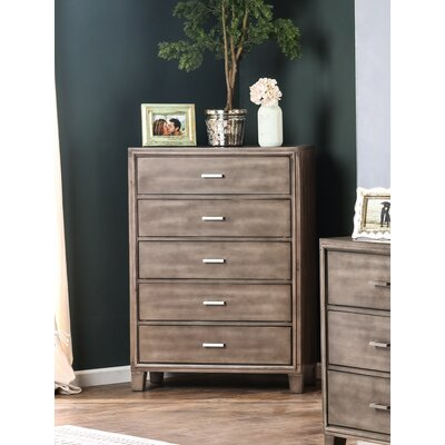 Leporis 5 Drawer Chest Color: Gray
