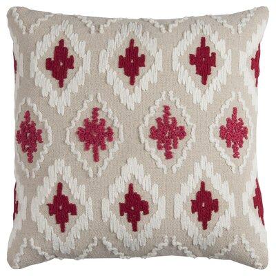 Miramar Cotton Throw Pillow Color: Red