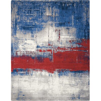 Antigua Blue/Red Area Rug Rug Size: Rectangle 56 x 8