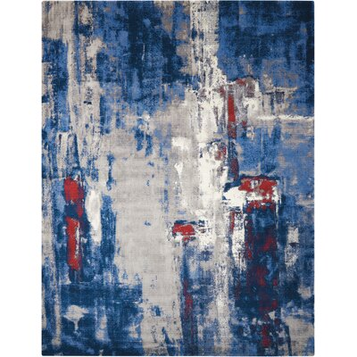 Antigua Blue/Red Area Rug Rug Size: 79 x 99